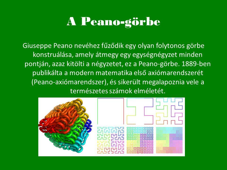 A Peano-görbe Giuseppe Peano nevéhez fűződik egy olyan folytonos görbe konstruálása, amely átmegy egy egységnégyzet minden pontján, azaz kitölti a nég