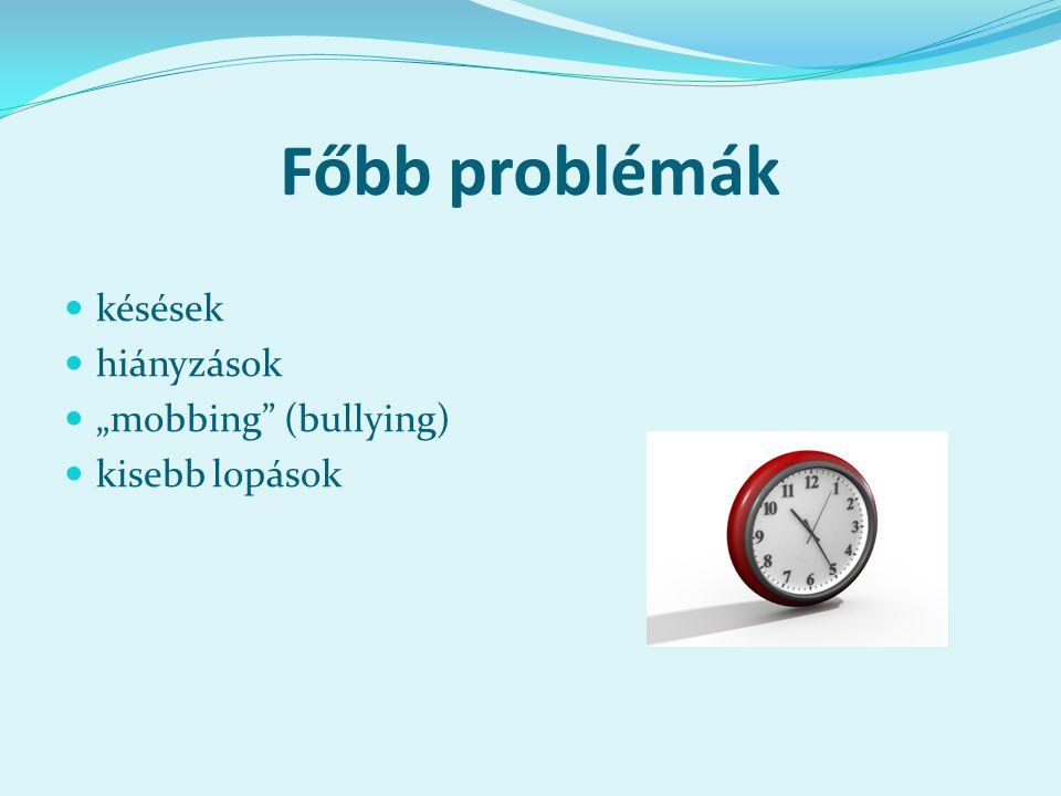 """Főbb problémák késések hiányzások """"mobbing (bullying) kisebb lopások"""