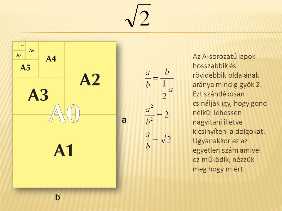 a b Az A-sorozatú lapok hosszabbik és rövidebbik oldalának aránya mindig gyök 2. Ezt szándékosan csinálják így, hogy gond nélkül lehessen nagyítani il