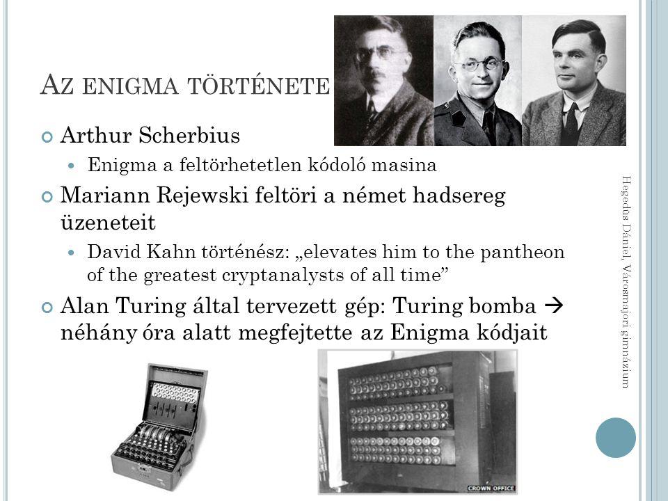 """A Z ENIGMA TÖRTÉNETE Arthur Scherbius Enigma a feltörhetetlen kódoló masina Mariann Rejewski feltöri a német hadsereg üzeneteit David Kahn történész: """"elevates him to the pantheon of the greatest cryptanalysts of all time Alan Turing által tervezett gép: Turing bomba  néhány óra alatt megfejtette az Enigma kódjait Hegedüs Dániel, Városmajori gimnázium"""