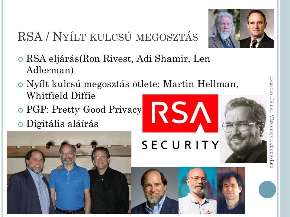 RSA / N YÍLT KULCSÚ MEGOSZTÁS RSA eljárás(Ron Rivest, Adi Shamir, Len Adlerman) Nyílt kulcsú megosztás ötlete: Martin Hellman, Whitfield Diffie PGP: Pretty Good Privacy Digitális aláírás Hegedüs Dániel, Városmajori gimnázium