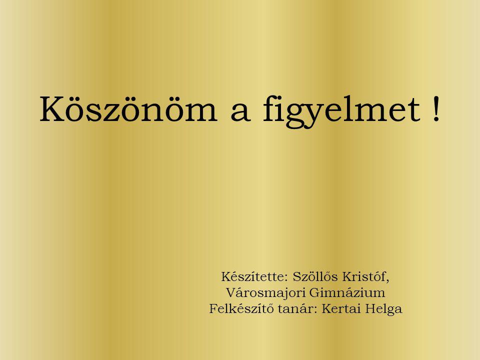 Köszönöm a figyelmet ! Készítette: Szöllős Kristóf, Városmajori Gimnázium Felkészítő tanár: Kertai Helga