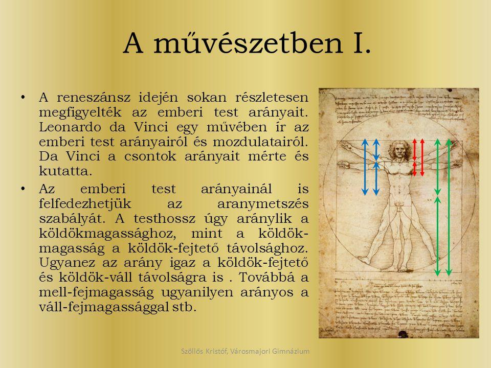 A művészetben I. A reneszánsz idején sokan részletesen megfigyelték az emberi test arányait. Leonardo da Vinci egy művében ír az emberi test arányairó