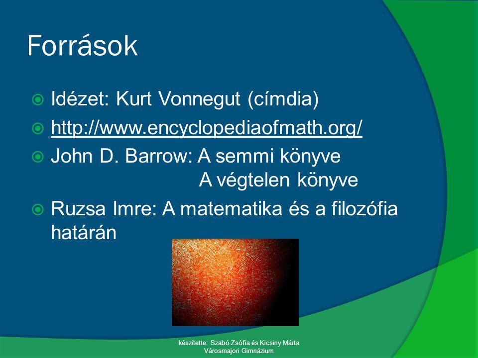 Források  Idézet: Kurt Vonnegut (címdia)  http://www.encyclopediaofmath.org/ http://www.encyclopediaofmath.org/  John D. Barrow: A semmi könyve A v