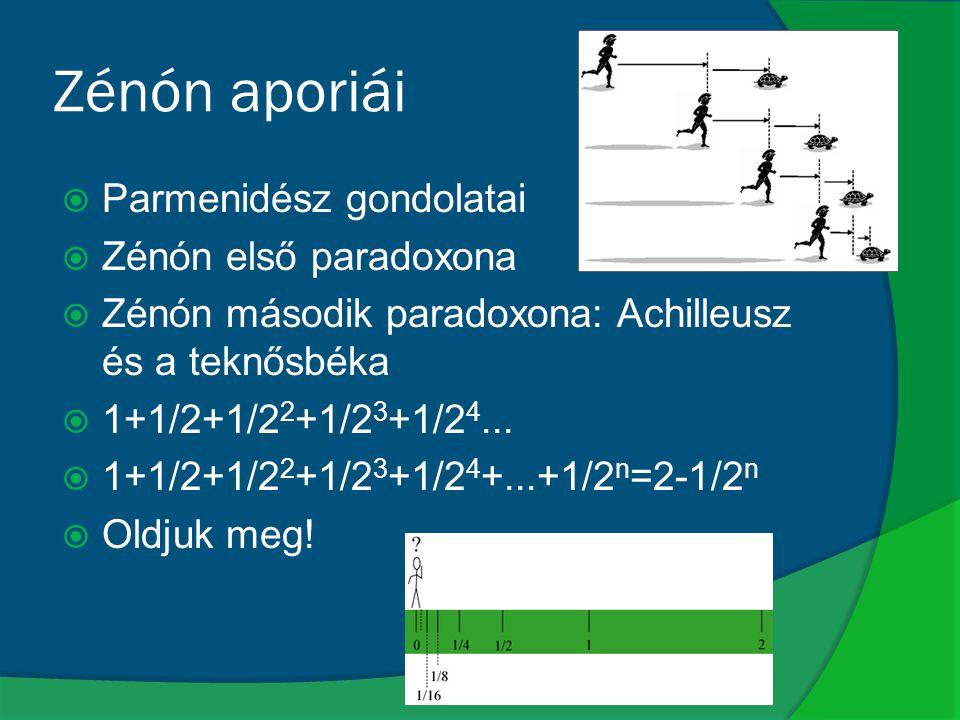 Zénón aporiái  Parmenidész gondolatai  Zénón első paradoxona  Zénón második paradoxona: Achilleusz és a teknősbéka  1+1/2+1/2 2 +1/2 3 +1/2 4... 