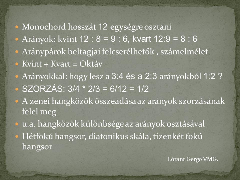 Monochord hosszát 12 egységre osztani Arányok: kvint 12 : 8 = 9 : 6, kvart 12:9 = 8 : 6 Aránypárok beltagjai felcserélhetők, számelmélet Kvint + Kvart