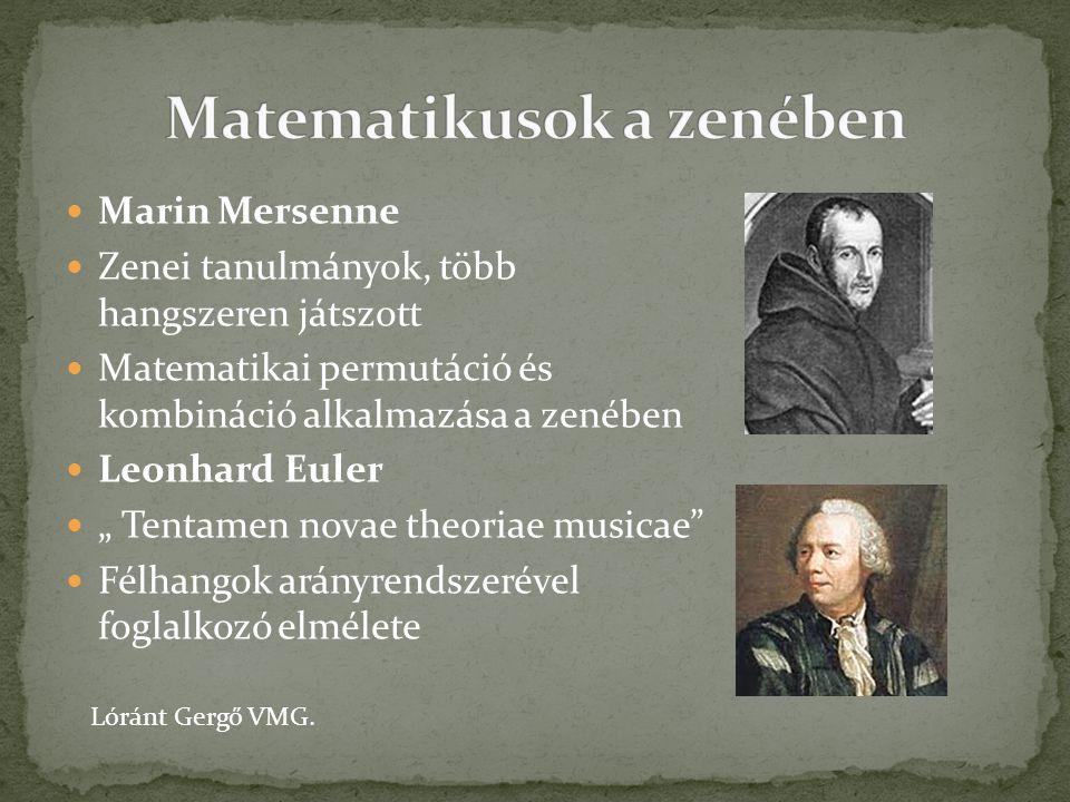 """Marin Mersenne Zenei tanulmányok, több hangszeren játszott Matematikai permutáció és kombináció alkalmazása a zenében Leonhard Euler """" Tentamen novae"""