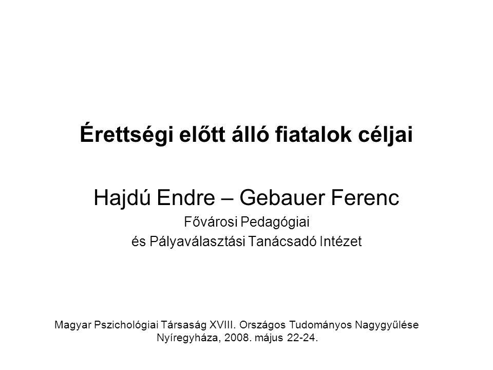 Érettségi előtt álló fiatalok céljai Hajdú Endre – Gebauer Ferenc Fővárosi Pedagógiai és Pályaválasztási Tanácsadó Intézet Magyar Pszichológiai Társaság XVIII.