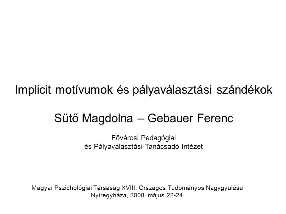 Magyar Pszichológiai Társaság XVIII. Országos Tudományos Nagygyűlése Nyíregyháza, 2008. május 22-24. Implicit motívumok és pályaválasztási szándékok S