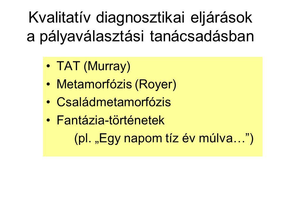 Kvalitatív diagnosztikai eljárások a pályaválasztási tanácsadásban TAT (Murray) Metamorfózis (Royer) Családmetamorfózis Fantázia-történetek (pl.
