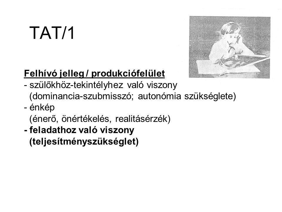 TAT/1 Felhívó jelleg / produkciófelület - szülőkhöz-tekintélyhez való viszony (dominancia-szubmisszó; autonómia szükséglete) - énkép (énerő, önértékelés, realitásérzék) - feladathoz való viszony (teljesítményszükséglet)