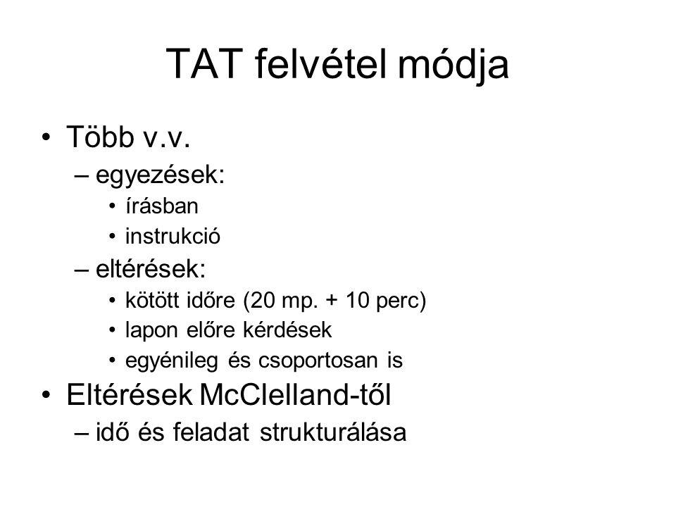 TAT felvétel módja Több v.v.–egyezések: írásban instrukció –eltérések: kötött időre (20 mp.