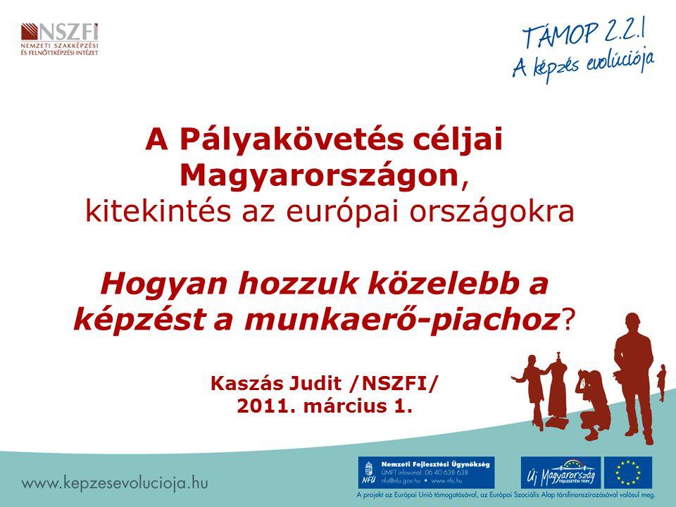 A Pályakövetés céljai Magyarországon, kitekintés az európai országokra Hogyan hozzuk közelebb a képzést a munkaerő-piachoz? Kaszás Judit /NSZFI/ 2011.