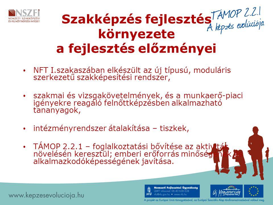 Szakképzés fejlesztés környezete a fejlesztés előzményei NFT I.szakaszában elkészült az új típusú, moduláris szerkezetű szakképesítési rendszer, szakm