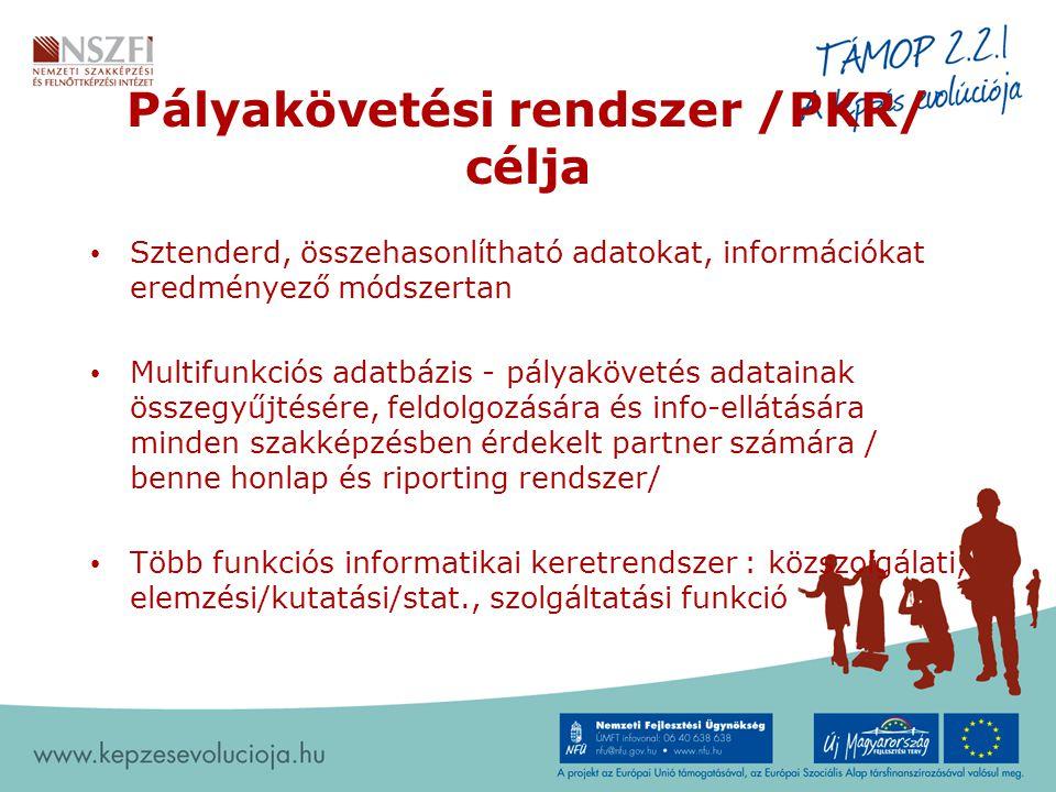 Pályakövetési rendszer /PKR/ célja Sztenderd, összehasonlítható adatokat, információkat eredményező módszertan Multifunkciós adatbázis - pályakövetés