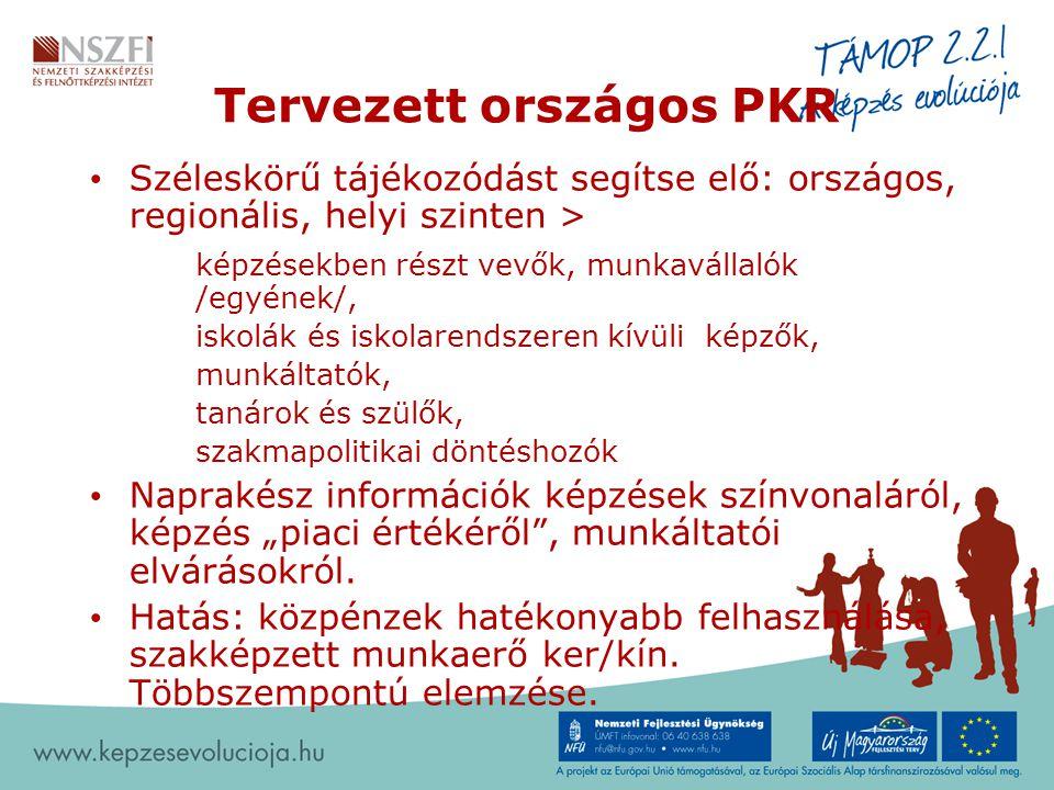 """Tervezett országos PKR Széleskörű tájékozódást segítse elő: országos, regionális, helyi szinten > képzésekben részt vevők, munkavállalók /egyének/, iskolák és iskolarendszeren kívüli képzők, munkáltatók, tanárok és szülők, szakmapolitikai döntéshozók Naprakész információk képzések színvonaláról, képzés """"piaci értékéről , munkáltatói elvárásokról."""