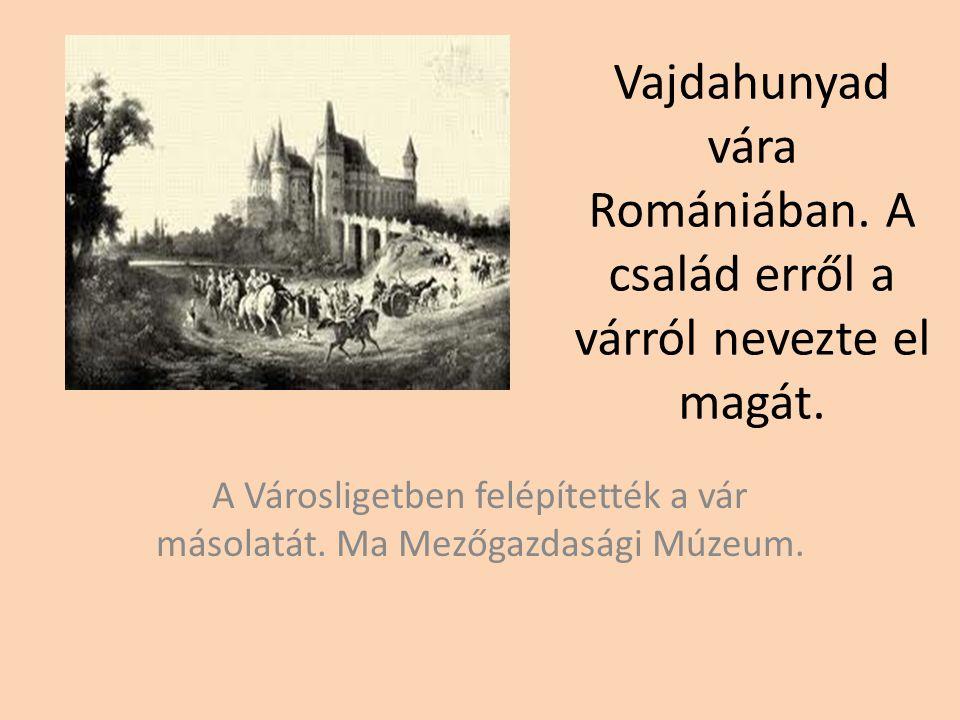 Vajdahunyad vára Romániában.A család erről a várról nevezte el magát.