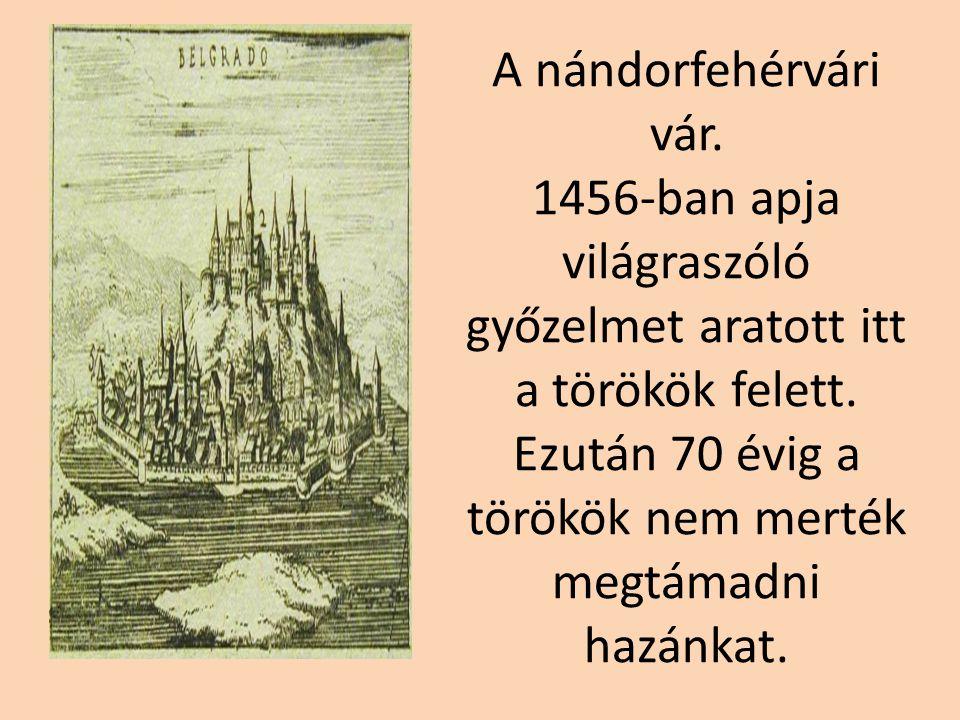 A nándorfehérvári vár.1456-ban apja világraszóló győzelmet aratott itt a törökök felett.