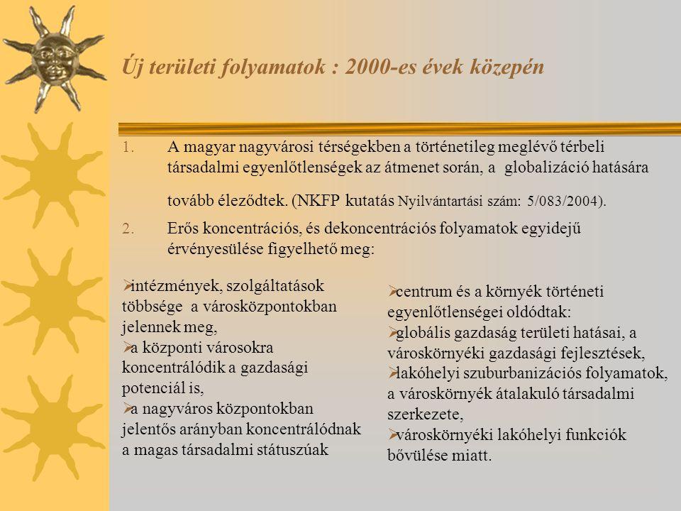 Új területi folyamatok : 2000-es évek közepén 1. A magyar nagyvárosi térségekben a történetileg meglévő térbeli társadalmi egyenlőtlenségek az átmenet