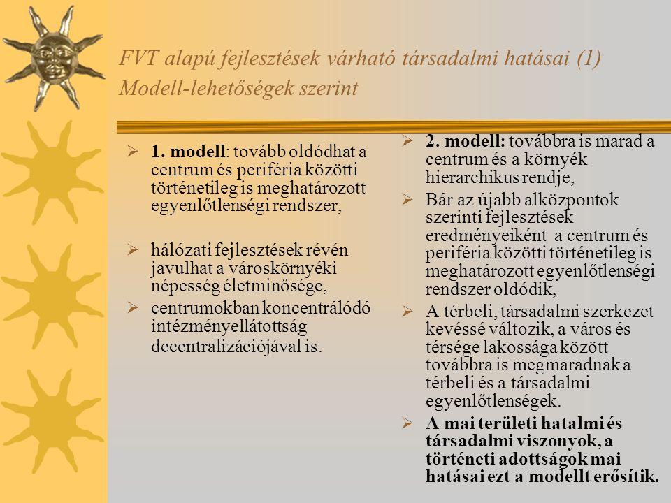 FVT alapú fejlesztések várható társadalmi hatásai (1) Modell-lehetőségek szerint  1. modell: tovább oldódhat a centrum és periféria közötti történeti
