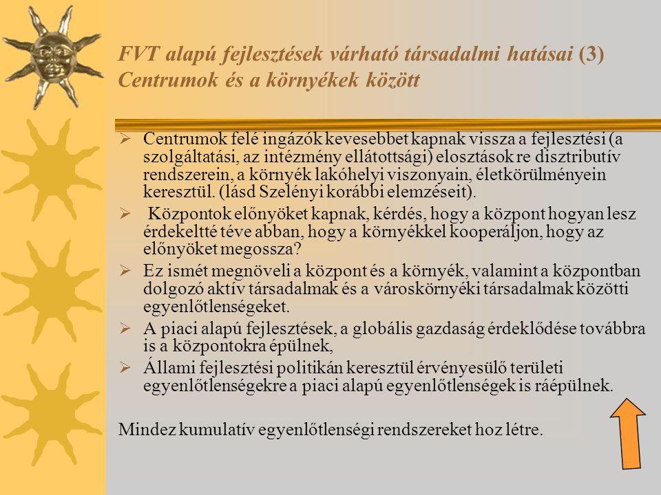 FVT alapú fejlesztések várható társadalmi hatásai (3) Centrumok és a környékek között  Centrumok felé ingázók kevesebbet kapnak vissza a fejlesztési (a szolgáltatási, az intézmény ellátottsági) elosztások re disztributív rendszerein, a környék lakóhelyi viszonyain, életkörülményein keresztül.