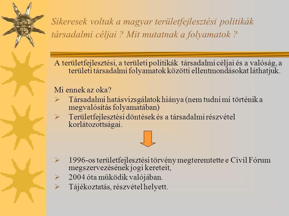 Sikeresek voltak a magyar területfejlesztési politikák társadalmi céljai ? Mit mutatnak a folyamatok ? A területfejlesztési, a területi politikák társ