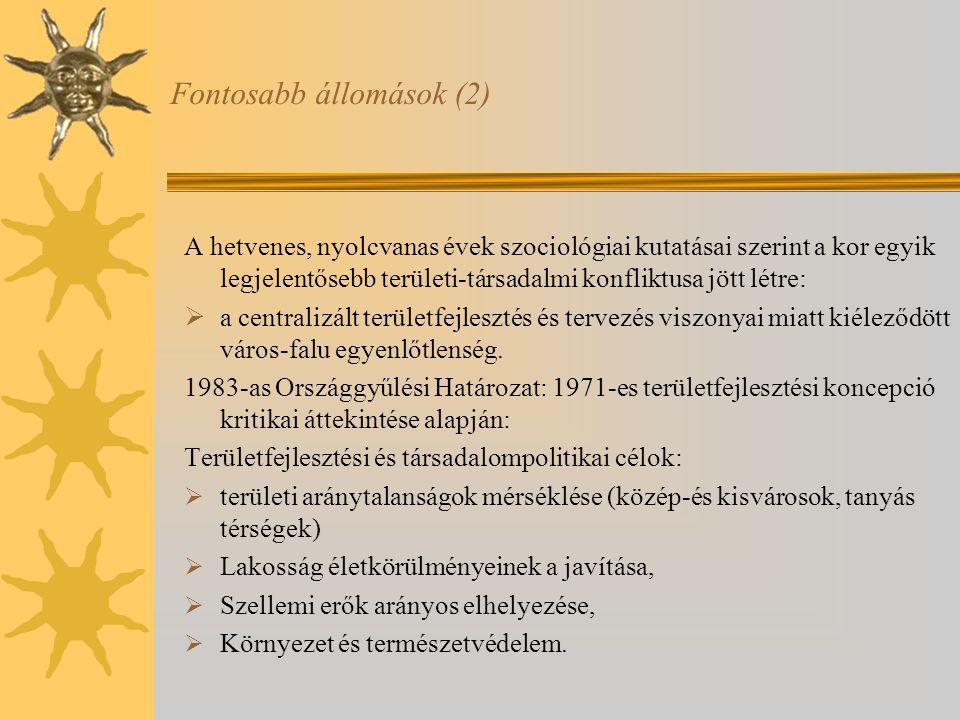 A magyar területfejlesztési politikák társadalmi céljai a polgári átalakulás során Helyi tényezők jelentősége megnőtt—térségi problematika háttérben maradt, 1996 Területfejlesztésről és területrendezésről szóló törvény jelentősége.