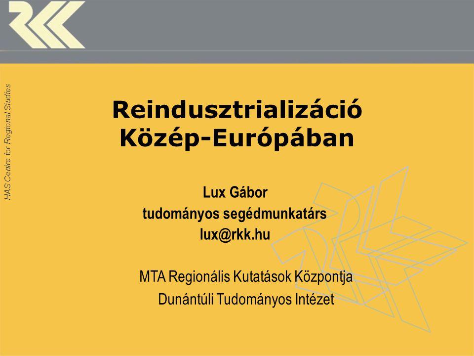 HAS Centre for Regional Studies Reindusztrializáció Közép-Európában Lux Gábor tudományos segédmunkatárs lux@rkk.hu MTA Regionális Kutatások Központja Dunántúli Tudományos Intézet