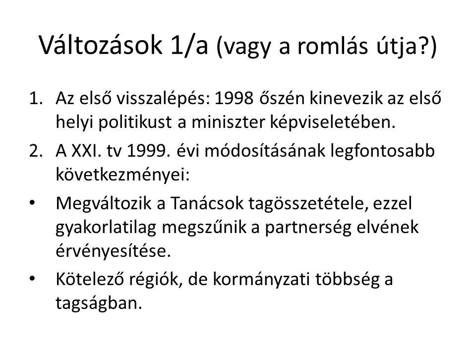 Változások 1/a (vagy a romlás útja?) 1.Az első visszalépés: 1998 őszén kinevezik az első helyi politikust a miniszter képviseletében. 2.A XXI. tv 1999