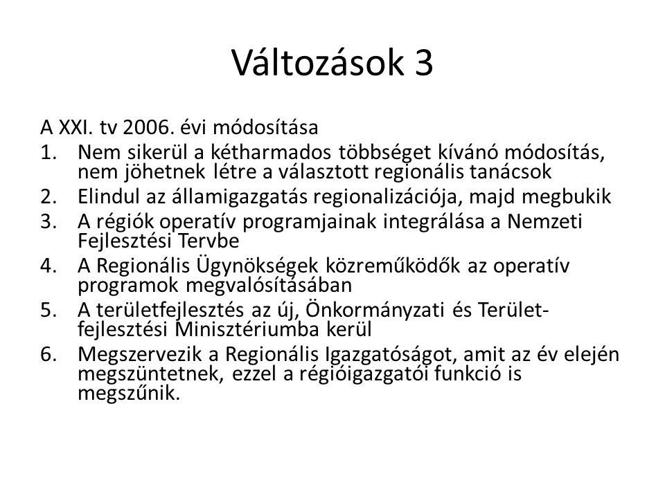 Változások 3 A XXI. tv 2006. évi módosítása 1.Nem sikerül a kétharmados többséget kívánó módosítás, nem jöhetnek létre a választott regionális tanácso