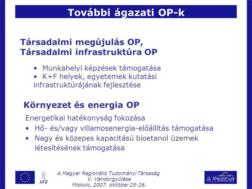 Energetikai hatékonyság fokozása Hő- és/vagy villamosenergia-előállítás támogatása Nagy és közepes kapacitású bioetanol üzemek létesítésének támogatása Társadalmi megújulás OP, Társadalmi infrastruktúra OP Munkahelyi képzések támogatása K+F helyek, egyetemek kutatási infrastruktúrájának fejlesztése Környezet és energia OP További ágazati OP-k A Magyar Regionális Tudományi Társaság V.