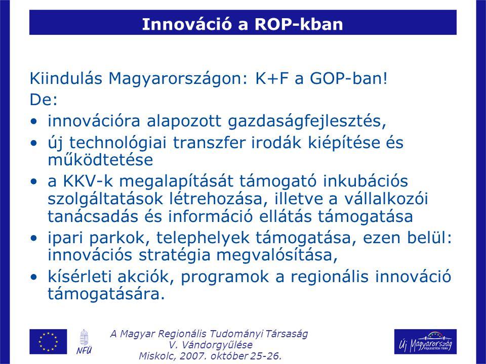 Innováció a ROP-kban Kiindulás Magyarországon: K+F a GOP-ban.