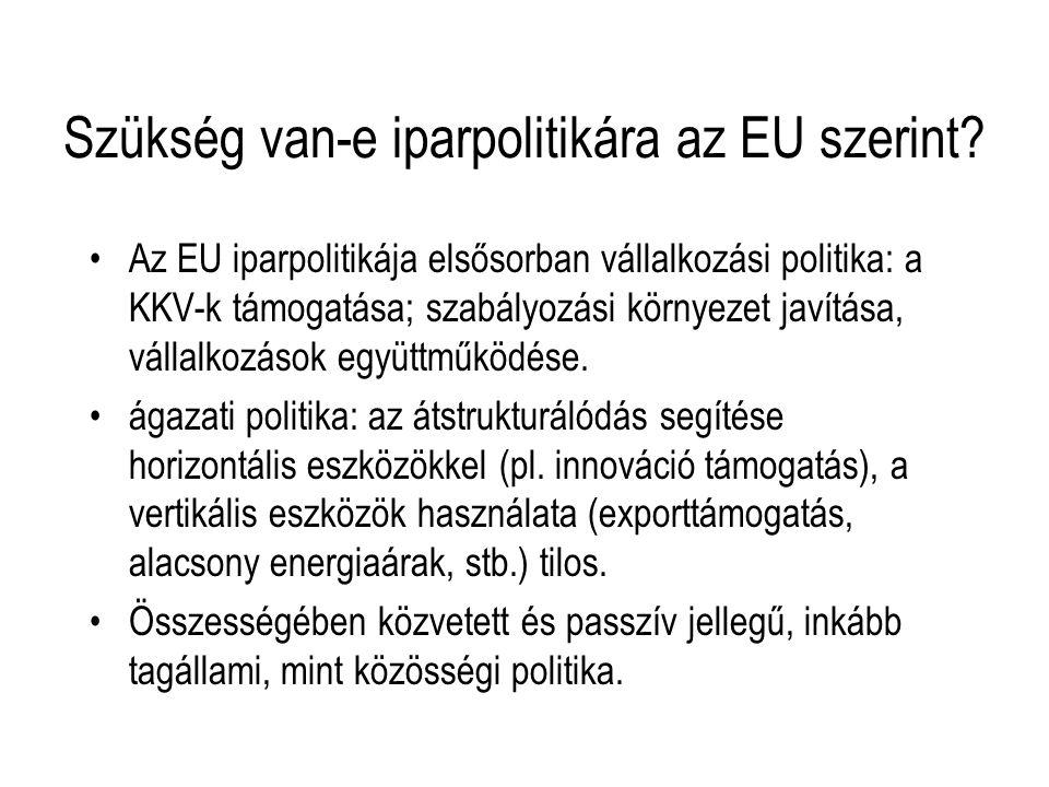 Szükség van-e iparpolitikára az EU szerint? Az EU iparpolitikája elsősorban vállalkozási politika: a KKV-k támogatása; szabályozási környezet javítása