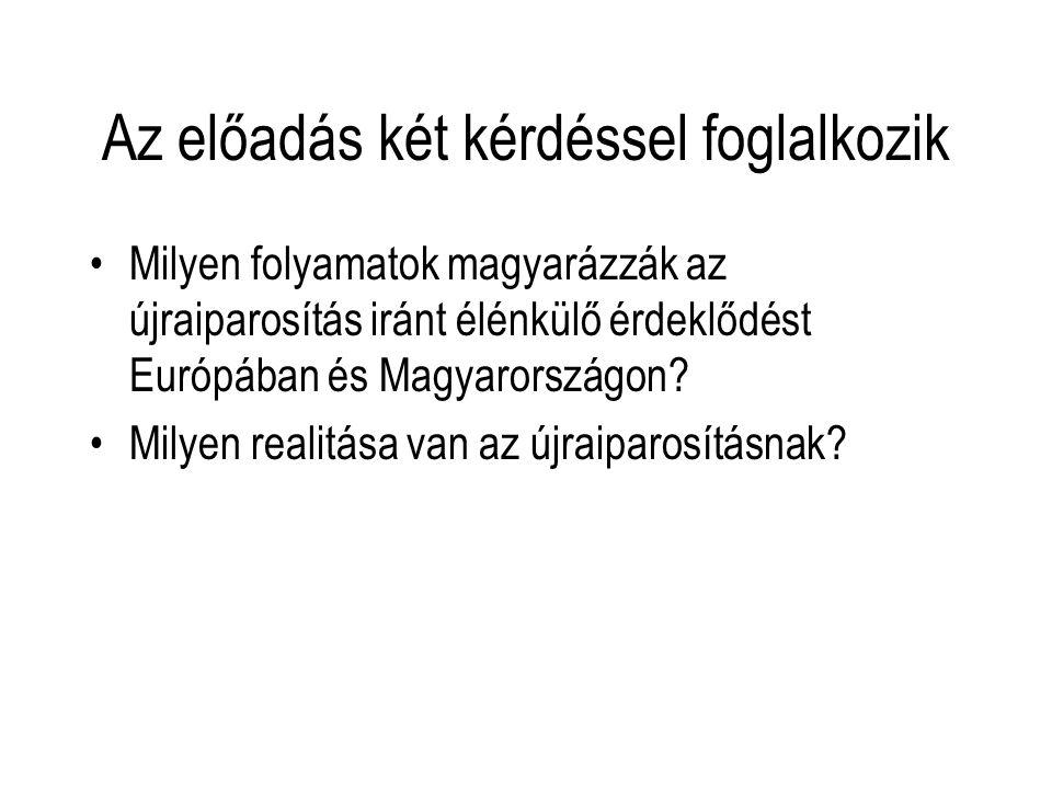 Az előadás két kérdéssel foglalkozik Milyen folyamatok magyarázzák az újraiparosítás iránt élénkülő érdeklődést Európában és Magyarországon? Milyen re