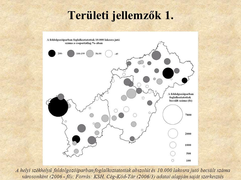 Területi jellemzők 1. A helyi székhelyű feldolgozóiparban foglalkoztatottak abszolút és 10.000 lakosra jutó becsült száma városonként (2006 - fő); For
