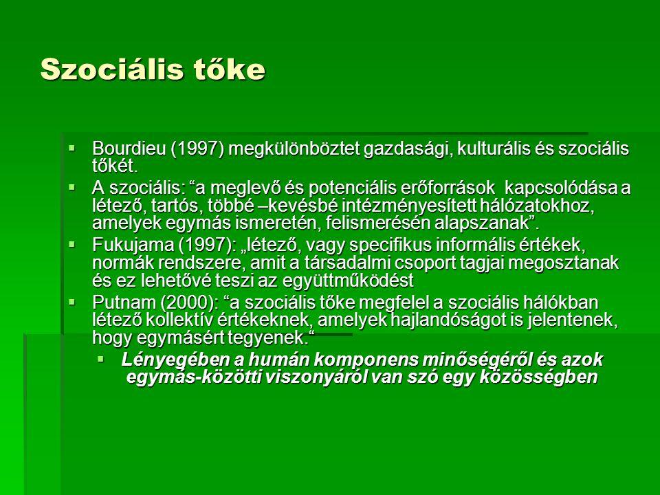 """Szociális tőke  Bourdieu (1997) megkülönböztet gazdasági, kulturális és szociális tőkét.  A szociális: """"a meglevő és potenciális erőforrások kapcsol"""