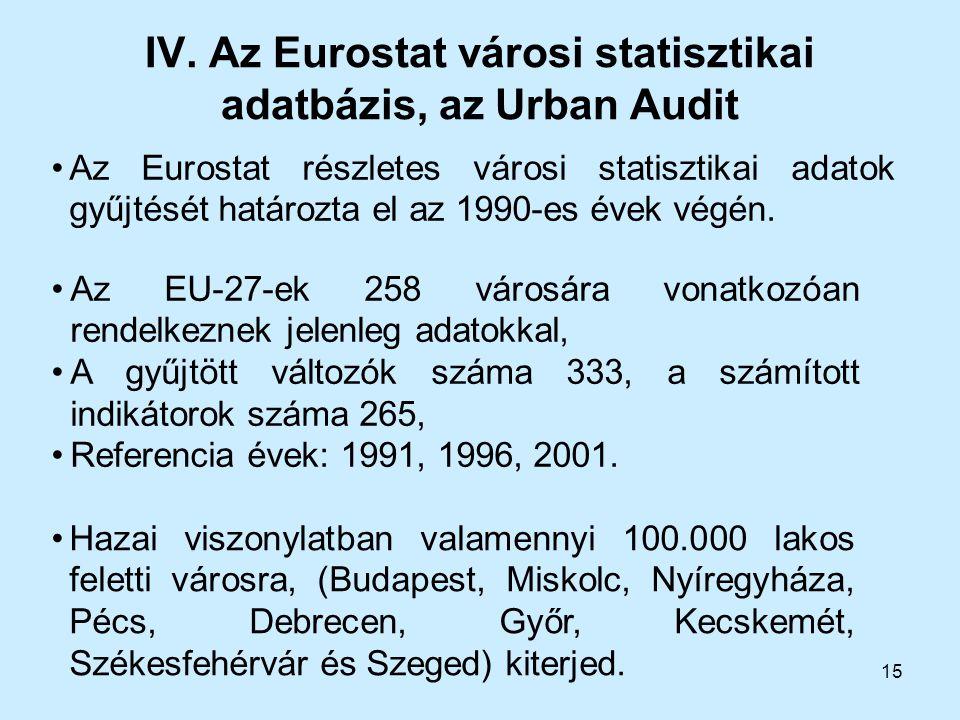 15 IV. Az Eurostat városi statisztikai adatbázis, az Urban Audit Az Eurostat részletes városi statisztikai adatok gyűjtését határozta el az 1990-es év