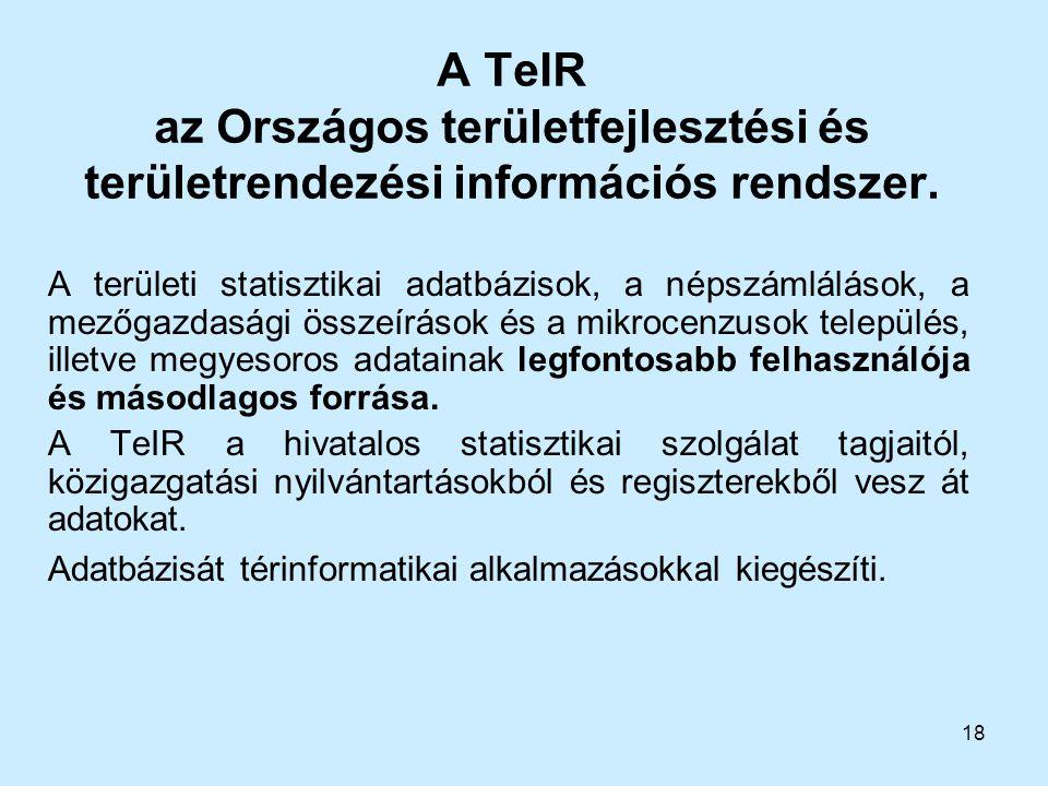 18 A TeIR az Országos területfejlesztési és területrendezési információs rendszer. A területi statisztikai adatbázisok, a népszámlálások, a mezőgazdas
