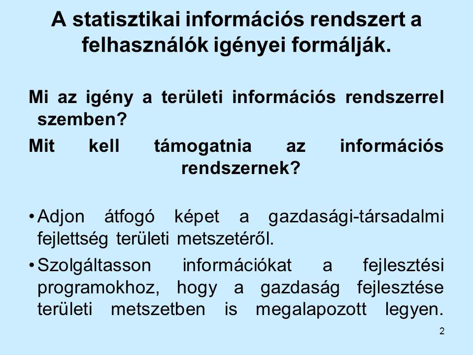 2 A statisztikai információs rendszert a felhasználók igényei formálják. Mi az igény a területi információs rendszerrel szemben? Mit kell támogatnia a