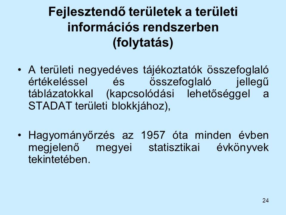 24 Fejlesztendő területek a területi információs rendszerben (folytatás) A területi negyedéves tájékoztatók összefoglaló értékeléssel és összefoglaló