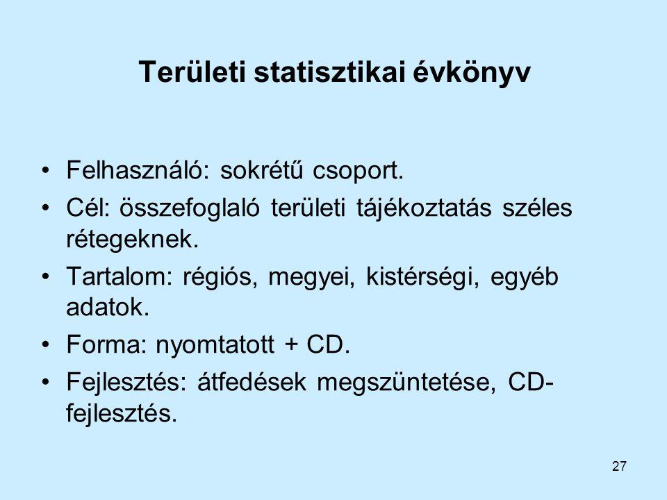 27 Területi statisztikai évkönyv Felhasználó: sokrétű csoport. Cél: összefoglaló területi tájékoztatás széles rétegeknek. Tartalom: régiós, megyei, ki