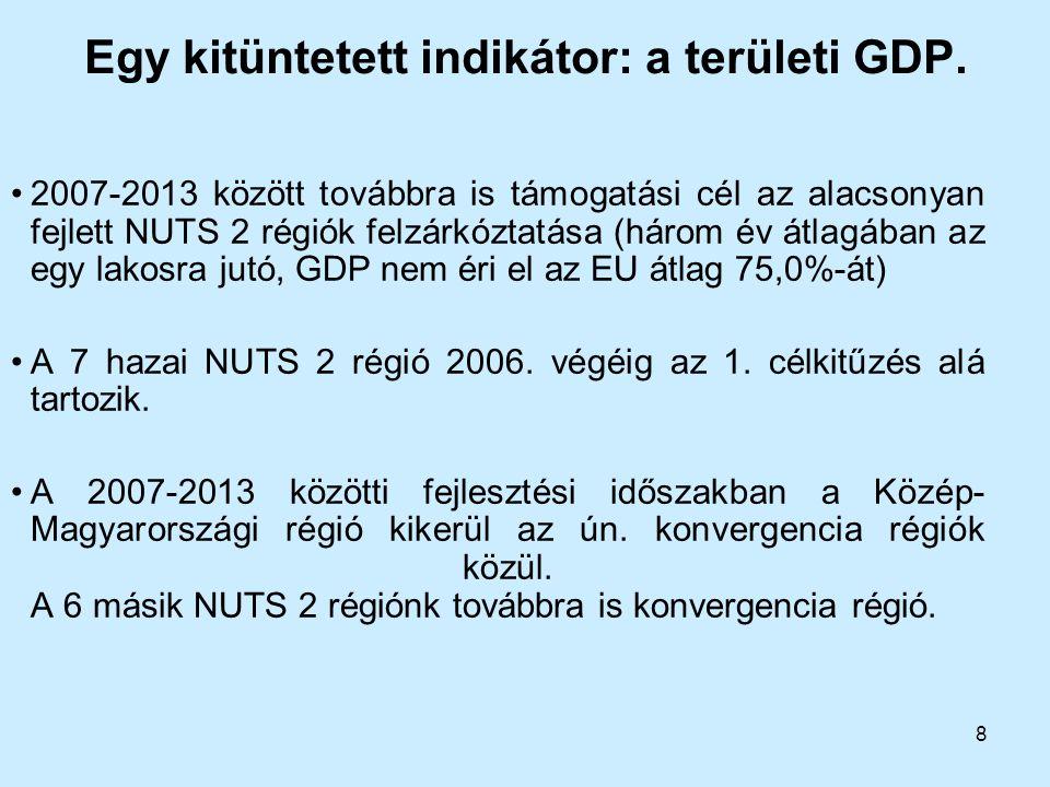 8 Egy kitüntetett indikátor: a területi GDP. 2007-2013 között továbbra is támogatási cél az alacsonyan fejlett NUTS 2 régiók felzárkóztatása (három év