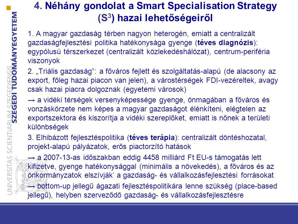 4. Néhány gondolat a Smart Specialisation Strategy (S 3 ) hazai lehetőségeiről 1.