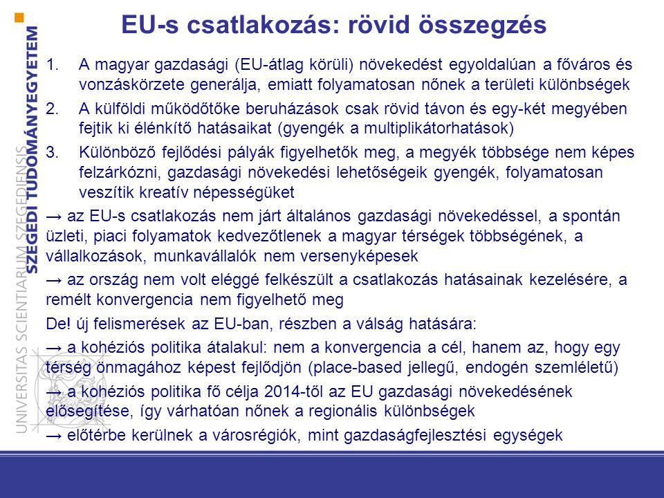 EU-s csatlakozás: rövid összegzés 1.A magyar gazdasági (EU-átlag körüli) növekedést egyoldalúan a főváros és vonzáskörzete generálja, emiatt folyamatosan nőnek a területi különbségek 2.A külföldi működőtőke beruházások csak rövid távon és egy-két megyében fejtik ki élénkítő hatásaikat (gyengék a multiplikátorhatások) 3.Különböző fejlődési pályák figyelhetők meg, a megyék többsége nem képes felzárkózni, gazdasági növekedési lehetőségeik gyengék, folyamatosan veszítik kreatív népességüket → az EU-s csatlakozás nem járt általános gazdasági növekedéssel, a spontán üzleti, piaci folyamatok kedvezőtlenek a magyar térségek többségének, a vállalkozások, munkavállalók nem versenyképesek → az ország nem volt eléggé felkészült a csatlakozás hatásainak kezelésére, a remélt konvergencia nem figyelhető meg De.