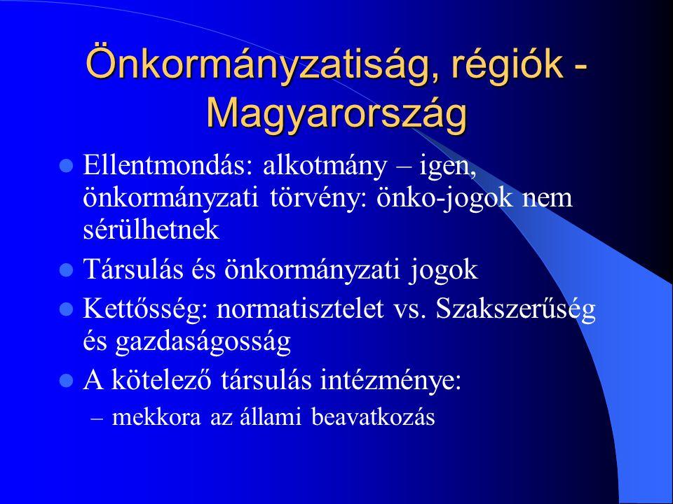Önkormányzatiság, régiók - Magyarország Ellentmondás: alkotmány – igen, önkormányzati törvény: önko-jogok nem sérülhetnek Társulás és önkormányzati jogok Kettősség: normatisztelet vs.
