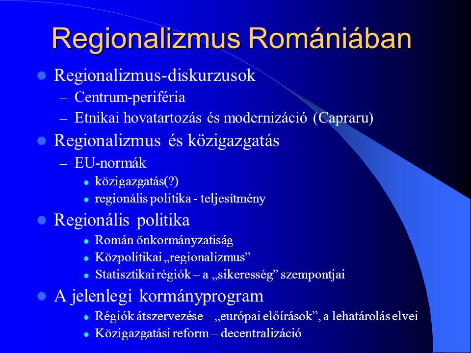 """Regionalizmus Romániában Regionalizmus-diskurzusok – Centrum-periféria – Etnikai hovatartozás és modernizáció (Capraru) Regionalizmus és közigazgatás – EU-normák közigazgatás( ) regionális politika - teljesítmény Regionális politika Román önkormányzatiság Közpolitikai """"regionalizmus Statisztikai régiók – a """"sikeresség szempontjai A jelenlegi kormányprogram Régiók átszervezése – """"európai előírások , a lehatárolás elvei Közigazgatási reform – decentralizáció"""