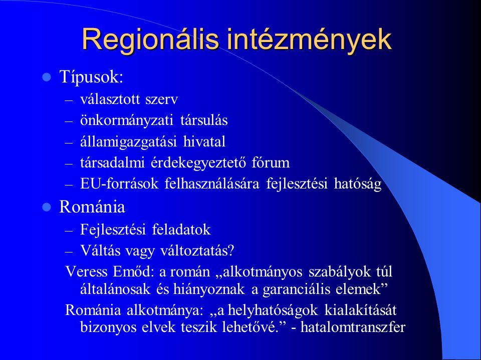 Regionális intézmények Típusok: – választott szerv – önkormányzati társulás – államigazgatási hivatal – társadalmi érdekegyeztető fórum – EU-források felhasználására fejlesztési hatóság Románia – Fejlesztési feladatok – Váltás vagy változtatás.