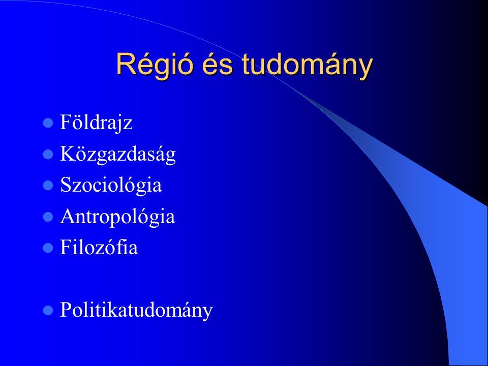 Régió és tudomány Földrajz Közgazdaság Szociológia Antropológia Filozófia Politikatudomány