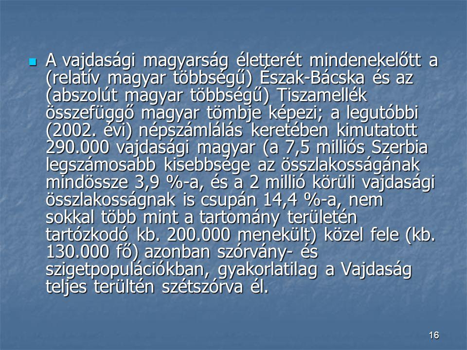 16 A vajdasági magyarság életterét mindenekelőtt a (relatív magyar többségű) Észak-Bácska és az (abszolút magyar többségű) Tiszamellék összefüggő magyar tömbje képezi; a legutóbbi (2002.