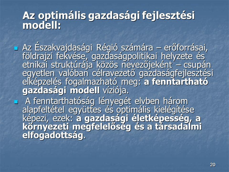 20 Az optimális gazdasági fejlesztési modell: Az optimális gazdasági fejlesztési modell: Az Északvajdasági Régió számára – erőforrásai, földrajzi fekvése, gazdaságpolitikai helyzete és etnikai struktúrája közös nevezőjeként – csupán egyetlen valóban célravezető gazdaságfejlesztési elképzelés fogalmazható meg: a fenntartható gazdasági modell víziója.
